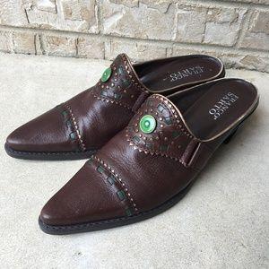 Franco Sarto Western Leather Slides Mules Size 8M
